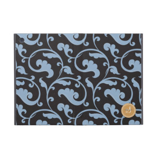 Elegant girly blue floral pattern monogram iPad mini cover