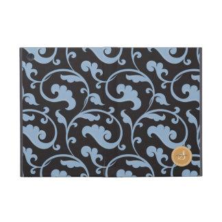 Elegant girly blue floral pattern monogram iPad mini cover