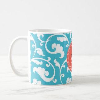 Elegant girly blue floral pattern monogram coffee mugs