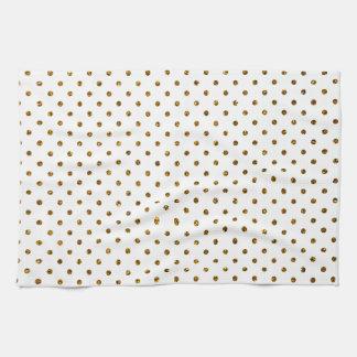 Elegant Girly Cute Polka Dots Glitter Photo Print Tea Towel