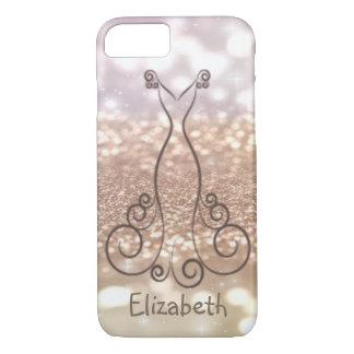 Elegant Girly Glittery Bokeh, Dress-Personalized iPhone 8/7 Case