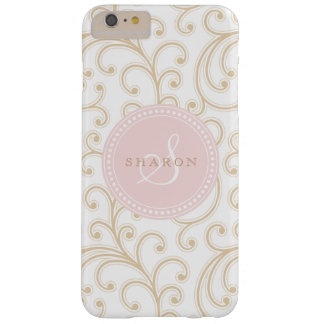 Elegant girly gold pink floral pattern monogram barely there iPhone 6 plus case