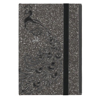 ELegant Girly Gray Glitter Black Peacock iPad Case