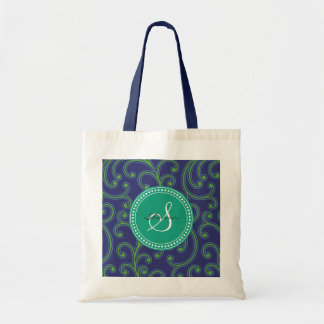 Elegant girly green blue floral pattern monogram budget tote bag