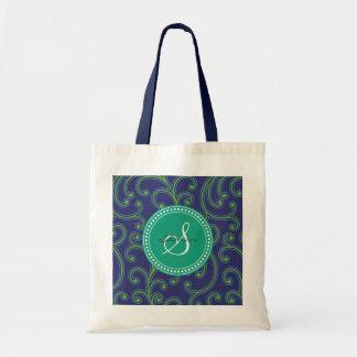Elegant girly green blue floral pattern monogram budget tote bag