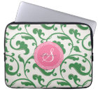 Elegant girly green floral pattern monogram laptop sleeve