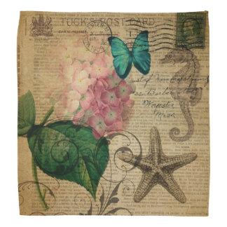 elegant girly Hydrangea butterfly vintage paris Bandana