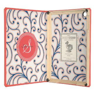 Elegant girly orange blue floral pattern monogram iPad air cases
