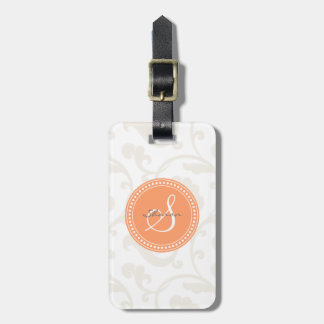 Elegant girly orange white floral pattern monogram luggage tag