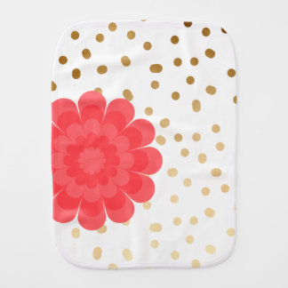 elegant girly pink flower gold polka dots pattern burp cloth