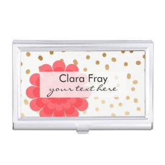 elegant girly pink flower gold polka dots pattern business card holder