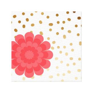 elegant girly pink flower gold polka dots pattern canvas print