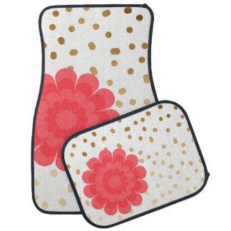 elegant girly pink flower gold polka dots pattern car mat