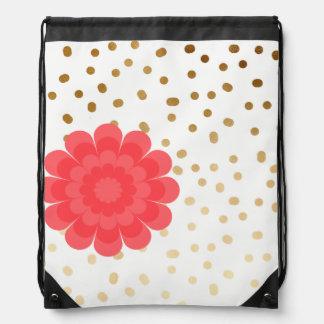 elegant girly pink flower gold polka dots pattern drawstring bag