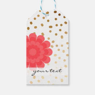 elegant girly pink flower gold polka dots pattern gift tags