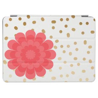 elegant girly pink flower gold polka dots pattern iPad air cover
