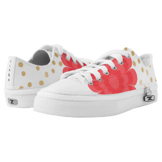 elegant girly pink flower gold polka dots pattern low tops