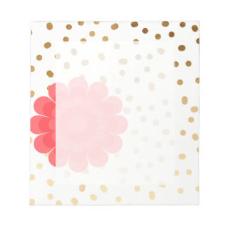elegant girly pink flower gold polka dots pattern notepad
