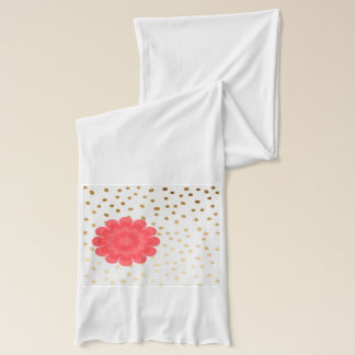 elegant girly pink flower gold polka dots pattern scarf