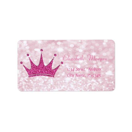 Elegant Girly  Pink Glittery,Bokeh, Tiara Address Label