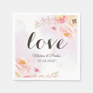 Elegant Girly Pink Gold Floral Love Script Wedding Disposable Napkins