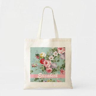 Elegant Girly Pink Red Roses Monogram Budget Tote Bag