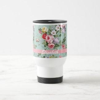 Elegant Girly Pink Red Roses Monogram Stainless Steel Travel Mug