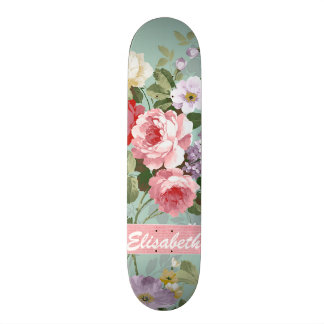 Elegant Girly Pink Red Roses Monogram Skateboard