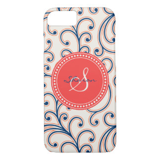 Elegant girly red blue floral pattern monogram iPhone 7 case