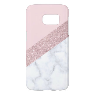 elegant girly rose gold glitter white marble pink