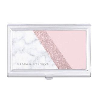 elegant girly rose gold glitter white marble pink business card holder