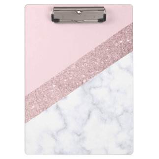 elegant girly rose gold glitter white marble pink clipboard