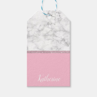 Elegant girly rose gold glitter white marble pink gift tags