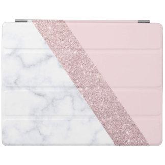 elegant girly rose gold glitter white marble pink iPad cover