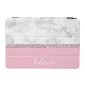Elegant girly rose gold glitter white marble pink iPad mini cover