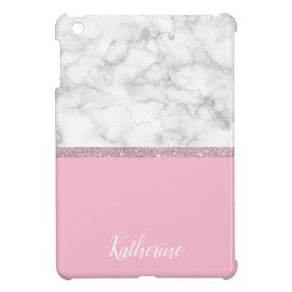 Elegant girly rose gold glitter white marble pink iPad mini covers