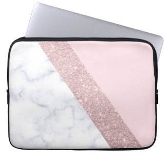 elegant girly rose gold glitter white marble pink laptop sleeve