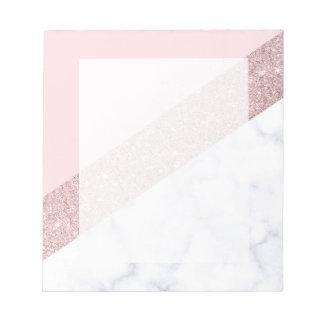 elegant girly rose gold glitter white marble pink notepad
