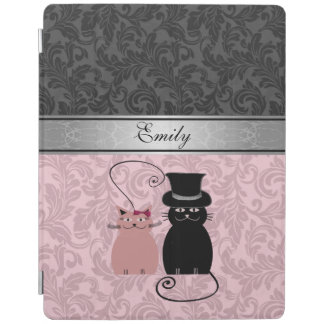 Elegant girly trendy damask cat couple monogram iPad cover