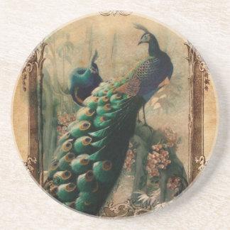 elegant girly vintage peacock swirls paris fashion beverage coasters