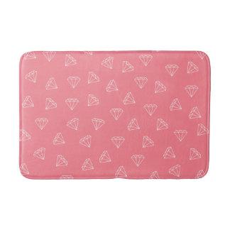 elegant girly white diamonds pattern pastel pink bath mat