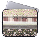 Elegant Girly White Lace And Pink Roses Laptop Sleeve