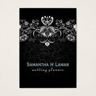 Elegant Girly White Lace On Black Damasks Business Card
