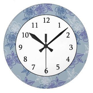 Elegant Girly White Purple Blue Floral Pattern Large Clock