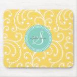 Elegant girly yellow floral pattern monogram