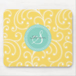 Elegant girly yellow floral pattern monogram mouse pad