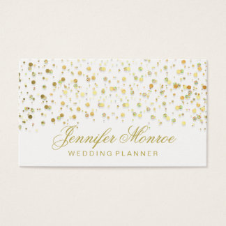 Elegant Glam Gold and White Confetti Business Card