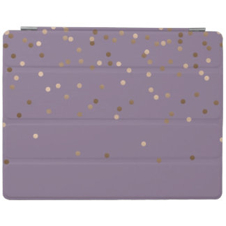 elegant glam rose gold foil confetti dots violet iPad cover