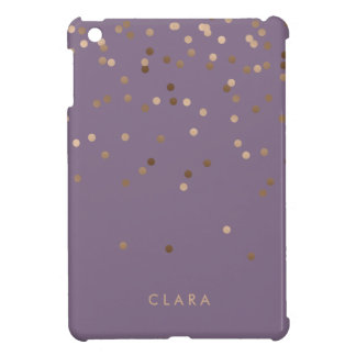 elegant glam rose gold foil confetti dots violet iPad mini cases