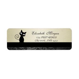 Elegant Glamorous Black Cat  Address Label-Heel Return Address Label